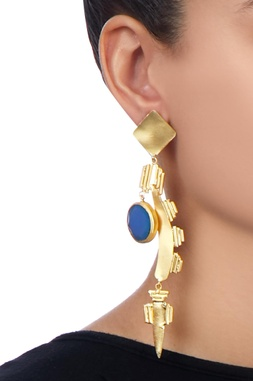 Gold long earrings with stonework