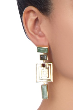 Gold plated geometric shaped earrings
