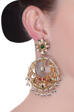 Multi-colored kundan chaandbaala earrings