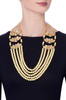 Gold plated moti necklace