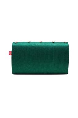 Emerald zardozi embroidered clutch