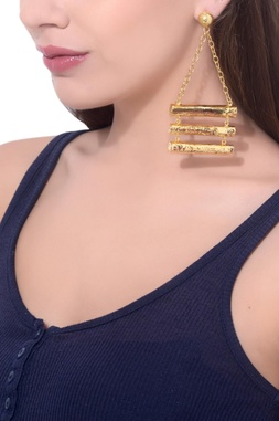 Gold plated hand-crafted chain earrings