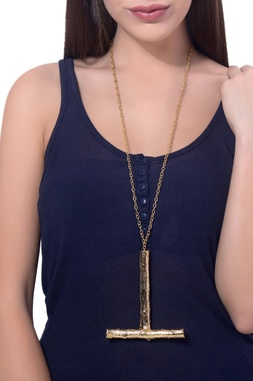 Gold plated statement twig necklace