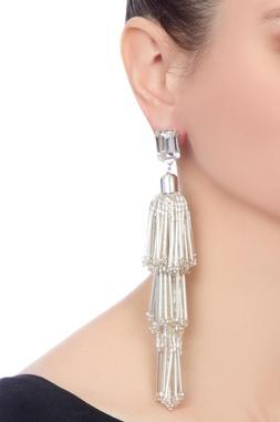 Silver gold polished & swarosvski crystal earrings