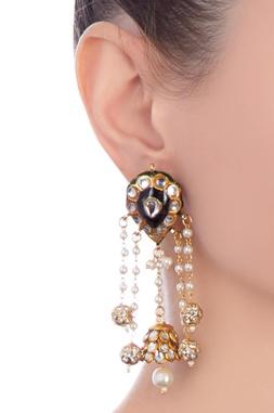 Indigo gold plated & copper pearl jhumki