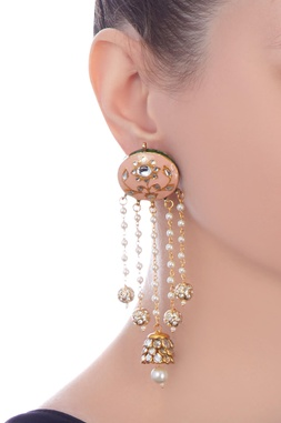 Peach gold plated & copper pearl jhumki