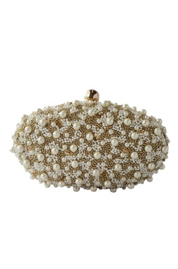 Gold pearl embellished oval clutch