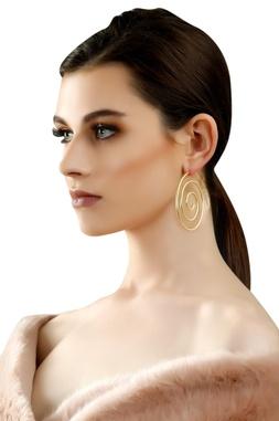 Gold plated crazy hoop earrings