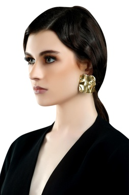 Gold plated ear-top medallion earrings