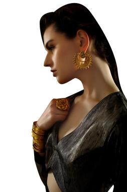 Gold-plated multiple layered cuff bangle