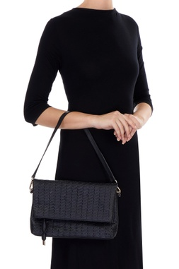 Black cross over fold-over clutch with handle