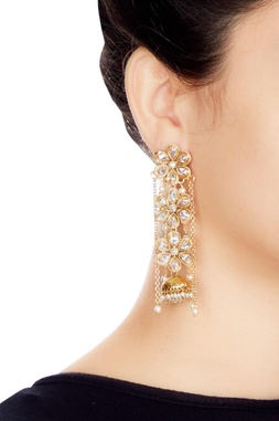 Gold & white alloy 3 uncut flower earring with chain
