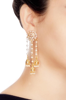 Gold & white alloy 3 jhumka uncut studed earring