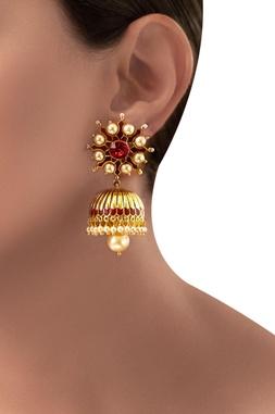 Gold plated maroon swarovski Tarun Tahiliani jhumka earrings