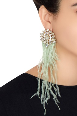 Gold plated swarovski crystal feather earrings