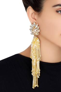 Gold plated swarovski crystal & tassel earrings
