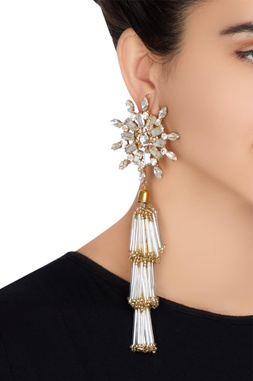Gold plated swarovski crystal earrings