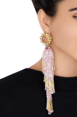 Gold plated swarovski crystal & beaded tassel earrings
