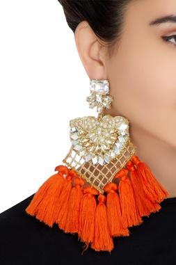 Gold plated swarovski earrings with pearls & orange fringe detailing