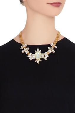 Gold plated swarovski crystal necklace