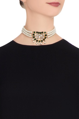 Gold plated tiered pearl choker necklace