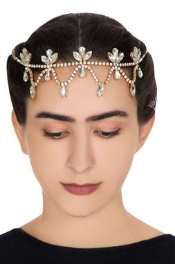 Gold plated swarovski crystal hair clip