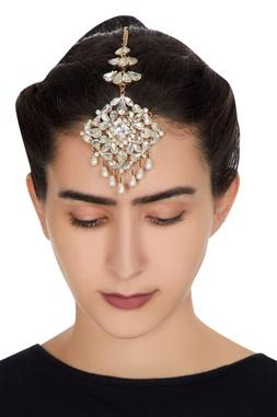 Gold plated swarovski crystal & drop pearls maangtikka