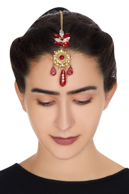 Gold plated maangtikka with red swarovski crystals