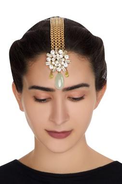 Gold plated swarovski crystal maangtikka with mint green drops
