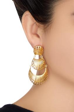 Three-tier long earrings