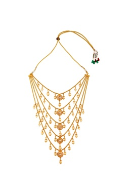 Multiple tiered style pearl necklace with earrings