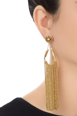 Gold plated dangling earrings with chain accents