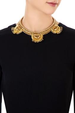 Gold plated brass spiky stud necklace