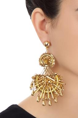 Gold plated beadwork dangling earrings