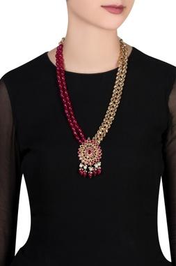 Kundan & pink bead tie-up necklace