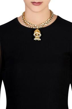 Kundan & white pearl jhumka necklace