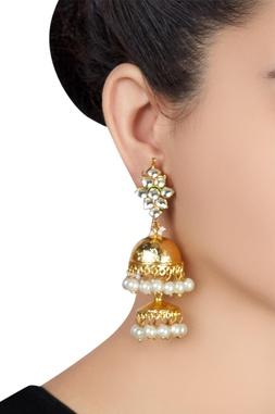 Pearl & kundan jhumka earrings