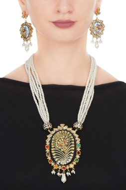 Faux pearl navrattan necklace & earrings