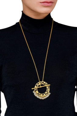 Gold brass  plated necklace with pearl beads