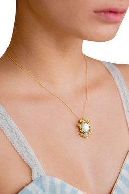 Gold brass  plated necklace with mother of pearl and pearl beads