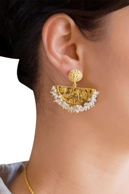 Gold brass  plated earrings with pearl beads