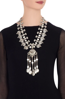 Silver finish coin statement necklace