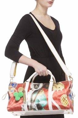 Red & white digital printed carry all bag