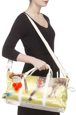 Yellow & white digital printed carry all bag