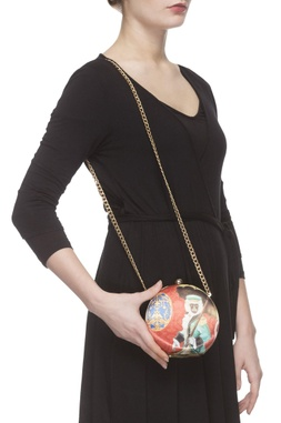 Red digital printed clutch with sling chain