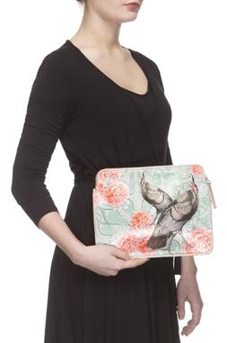 Sea green & coral digital printed purse