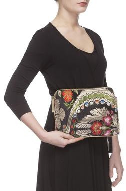 Black floral zari threadwork purse