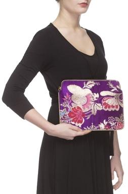 Purple floral zari threadwork purse