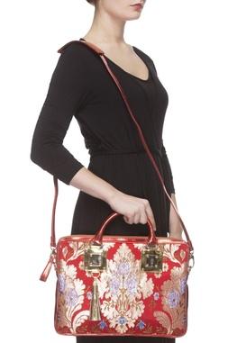 Red zari threadwork laptop bag