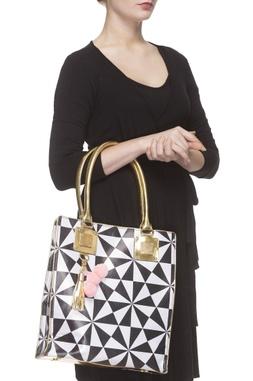 Black & white geometric handbag